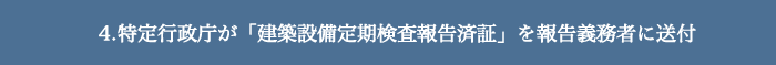 4.特定行政庁が「建築設備定期検査報告済証」を報告義務者に送付