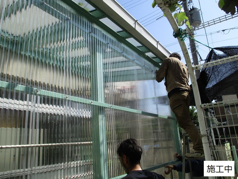 宝塚市 保育園 雨除け用波板庇設置イメージ05