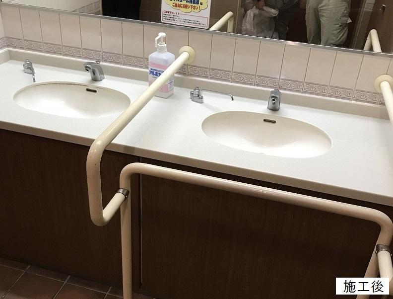 宝塚市 店舗施設 女子トイレ洗面台天板取替工事イメージ01
