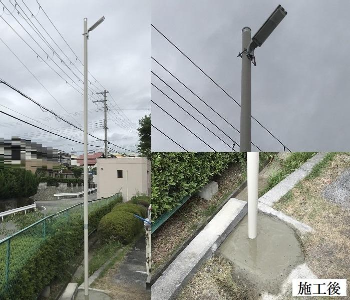 神戸市 集合住宅 駐車場LED防犯灯ポール取替イメージ01