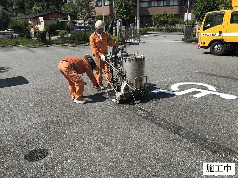 宝塚市 保育園 駐車場区画線ライン引き直し工事イメージ07