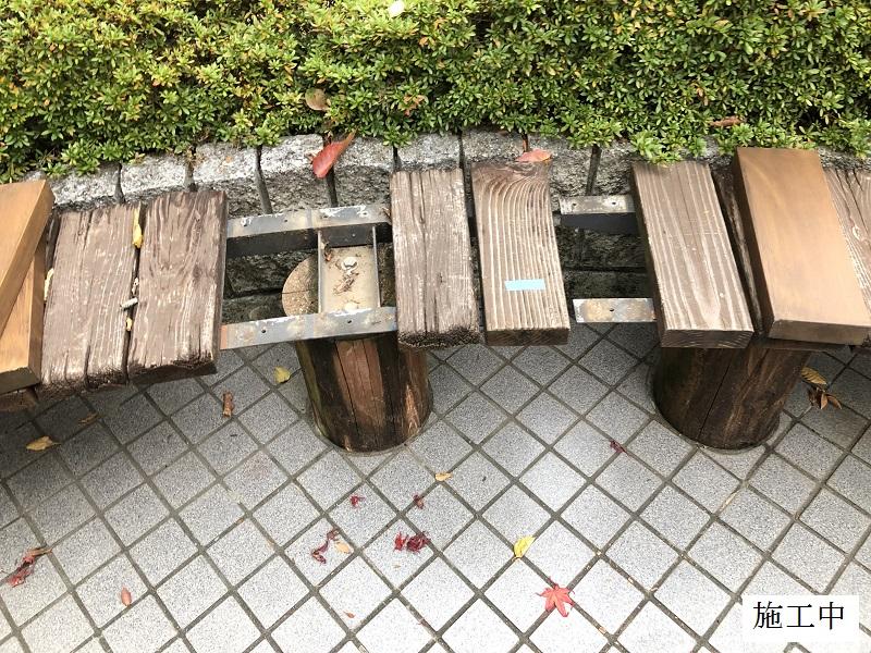 神戸市 マンション 木製ベンチ部分修繕イメージ08